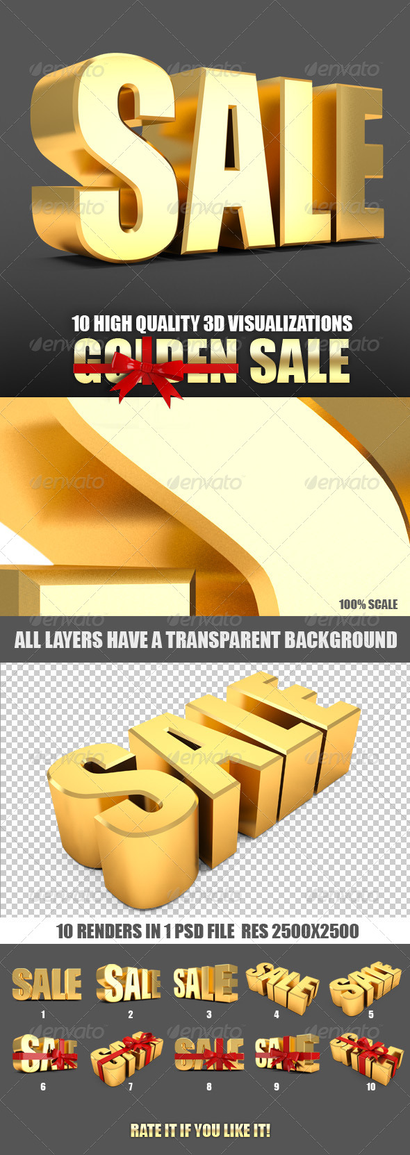 Sale and sale label tied with red ribbon 3d - Text 3D Renders