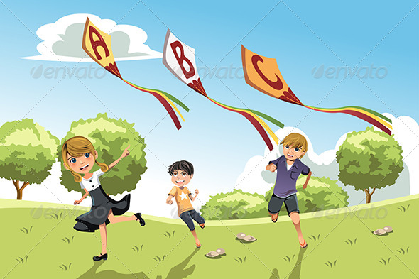 Kids with Alphabet Kites - People Characters