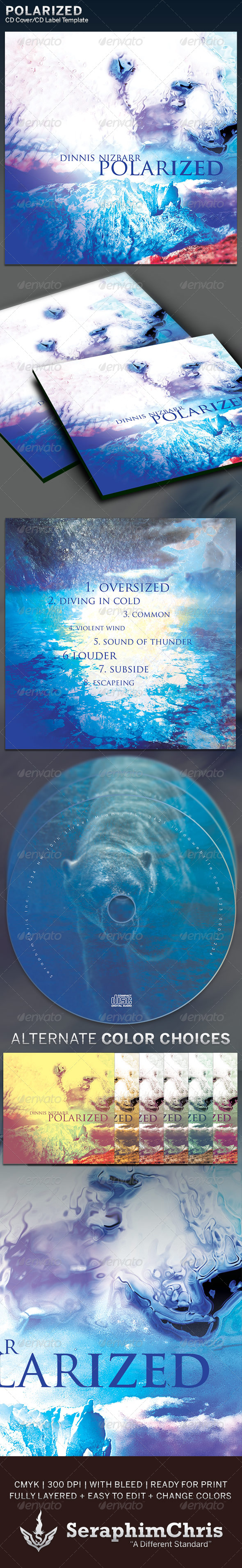 Polarized: CD Cover Artwork Template - CD & DVD Artwork Print Templates