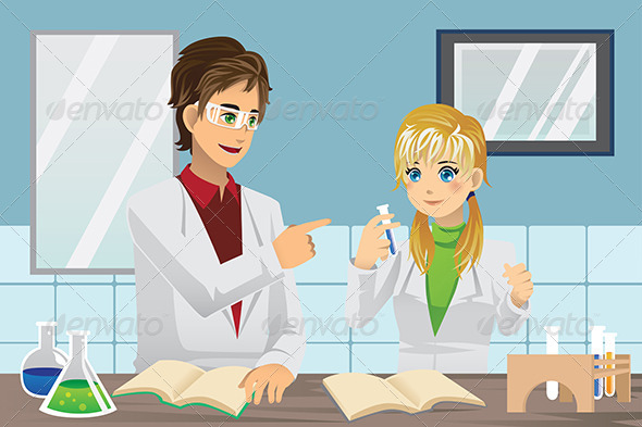 Students in Lab - People Characters