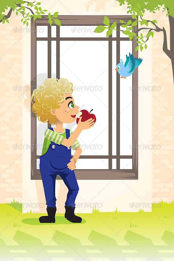 Boy Eating Apple - People Characters