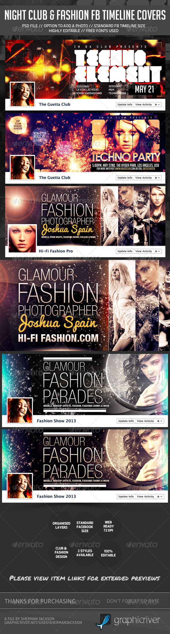 Night Club, Fashion, Glamour Fb Timeline Covers Bundle - Facebook Timeline Covers Social Media