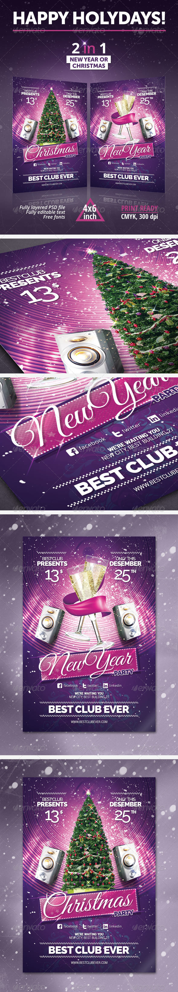 New Year, Christmas Party Flyer - Clubs & Parties Events