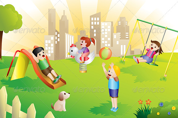 Kids on the Playground - People Characters