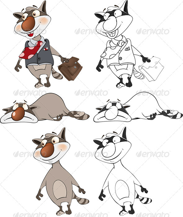 Raccoons Clip Art Cartoon - Animals Characters
