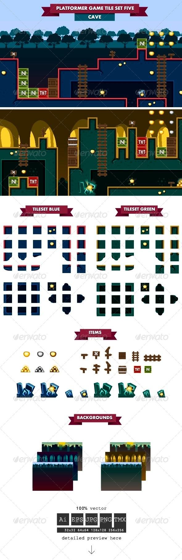 Platformer Game Tile Set Five - Tilesets Game Assets