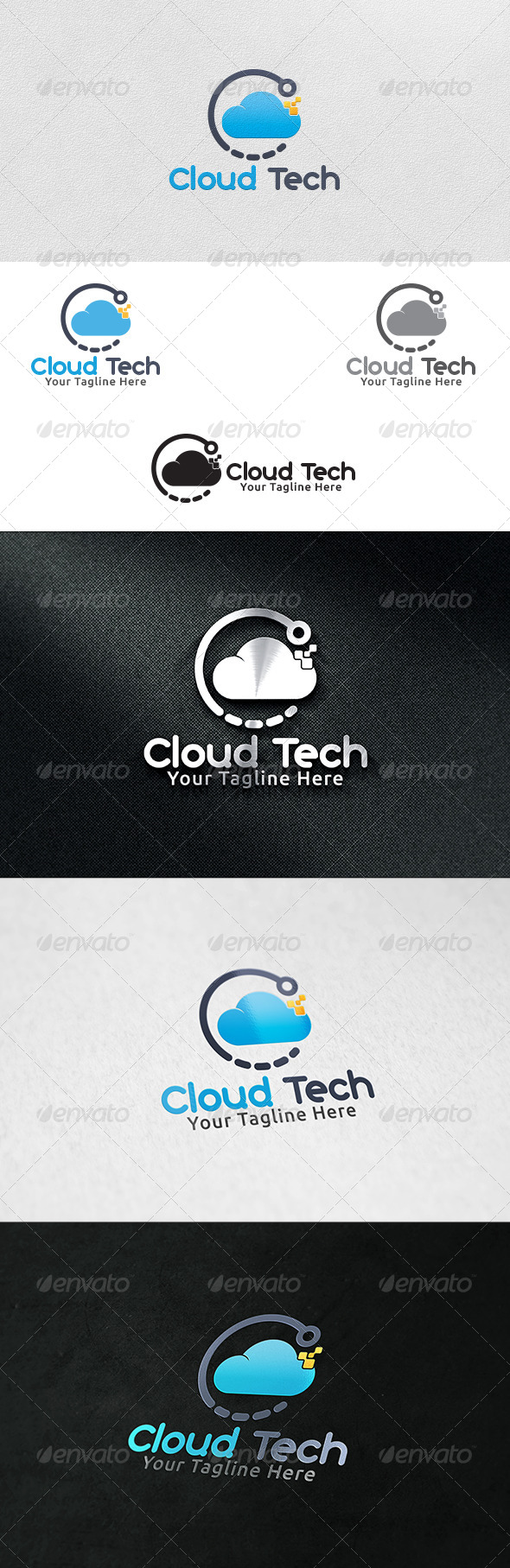 Cloud Tech - Logo Template - 3d Abstract