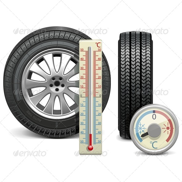 Vector Winter Tire and Thermometer - Commercial / Shopping Conceptual