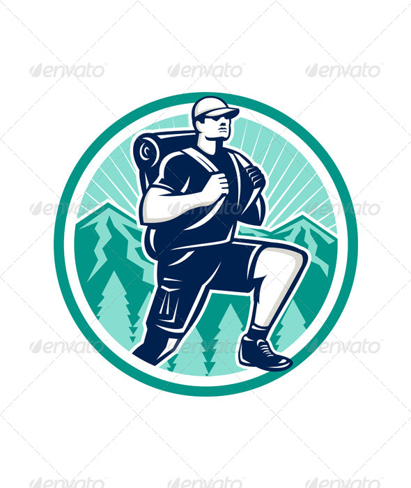 Hiker Hiking Mountain Retro - Sports/Activity Conceptual