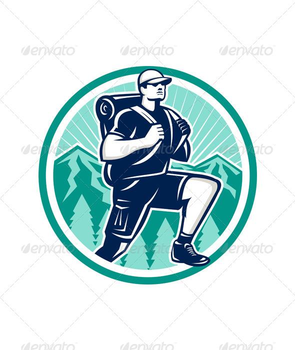 Hiker Hiking Mountain Retro - Sports/Activity Conceptual