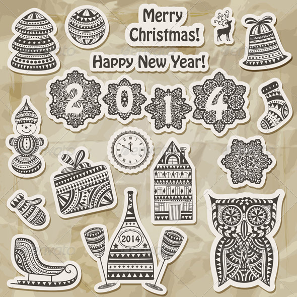Vector Christmas Stickers Design Elements - New Year Seasons/Holidays