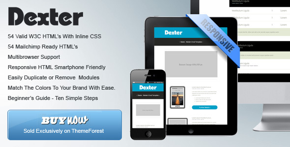Dexter Responsive HTML Email Template Pack By Robbiewilliams - Responsive html email template