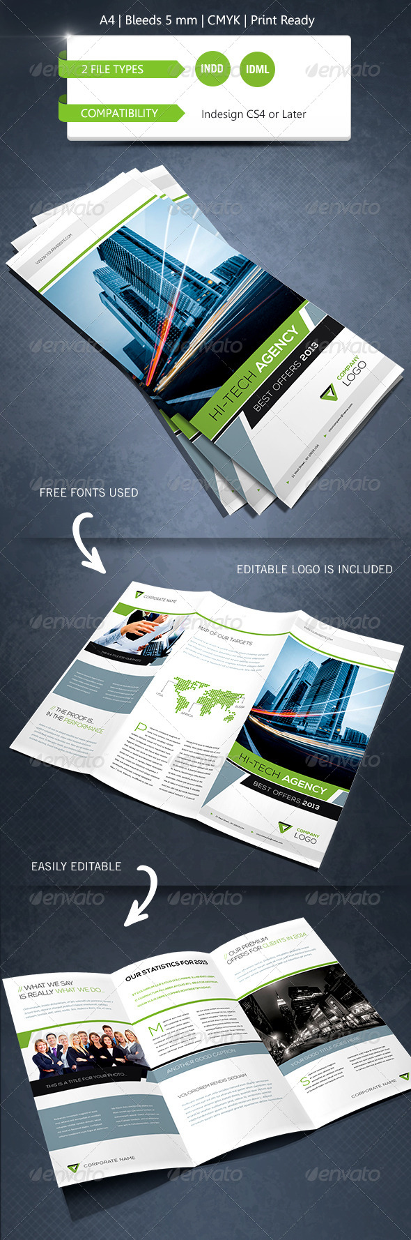 Modern & Corporate Trifold Brochure Template - Informational Brochures