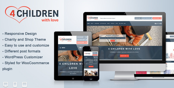 4 Children With Love-Charity WP Theme - Charity Nonprofit