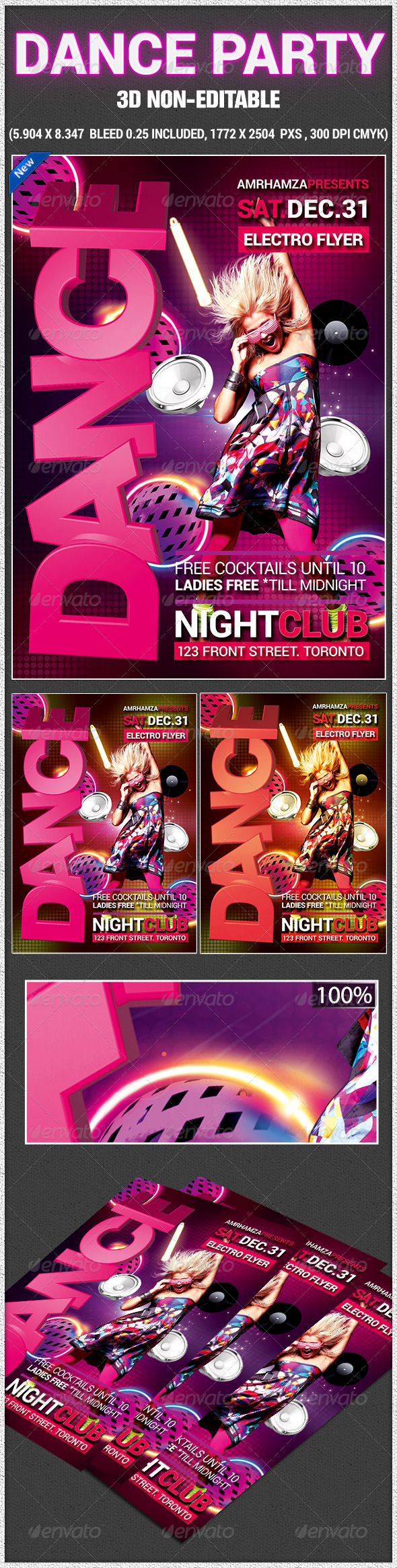 Glow Dance Party Poster - Clubs & Parties Events