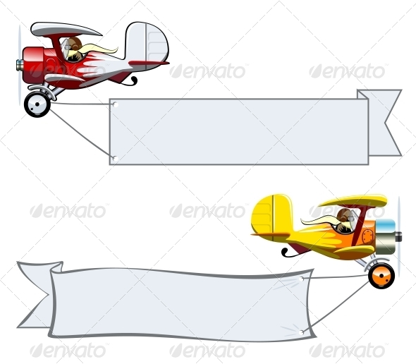 Cartoon Biplane - Man-made Objects Objects