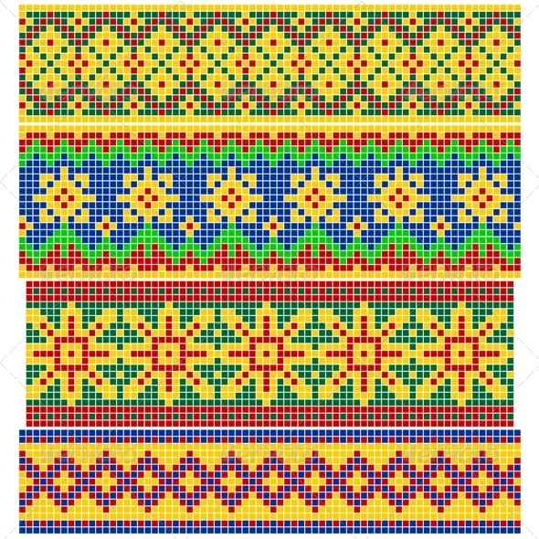 Set of Old Russian Patterns - Borders Decorative