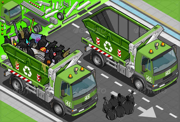 Isometric Garbage Truck with Container in Front - Objects Vectors