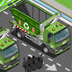 Isometric Garbage Truck with Container in Front