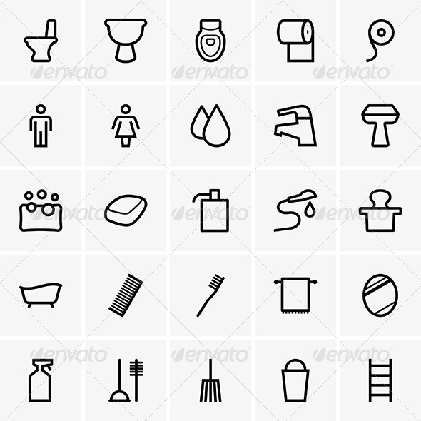 Bathroom Icons - Decorative Symbols Decorative