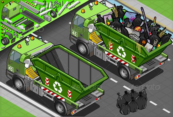 Isometric Garbage Truck with Container in Rear - Objects Vectors