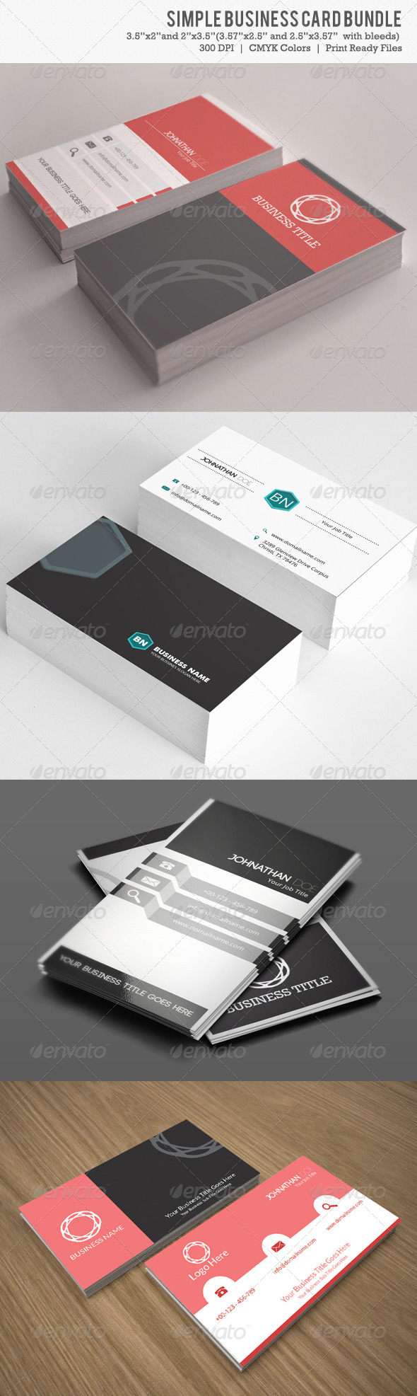 Simple Business Card Bundle 4 IN 1 - Business Cards Print Templates