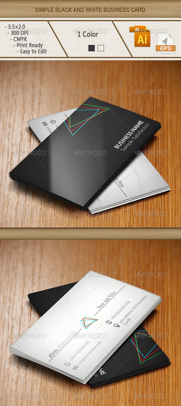 Simple Black and White Business Card - Business Cards Print Templates
