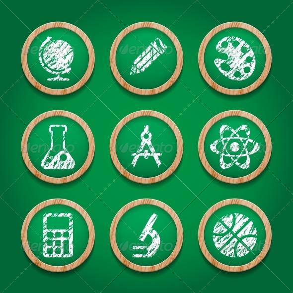 School Icon Set on Chalkboard - Web Elements Vectors