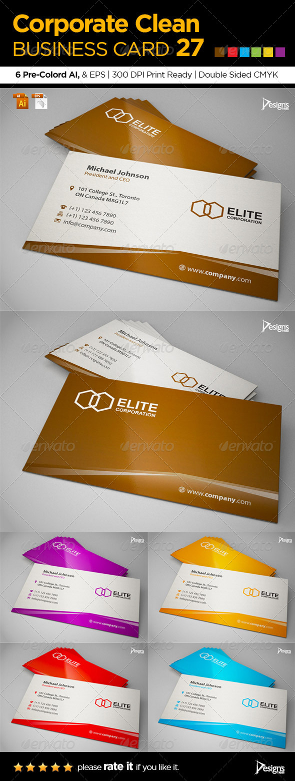 Corporate Clean Business Card 27 - Corporate Business Cards