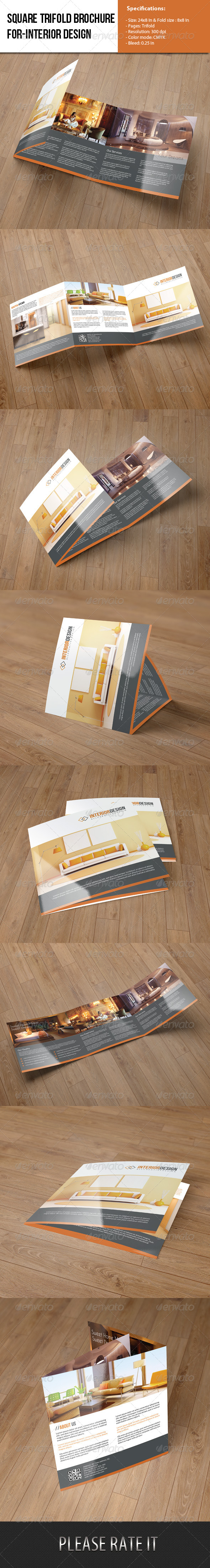 Square Trifold Brochure-Interior Design - Corporate Brochures