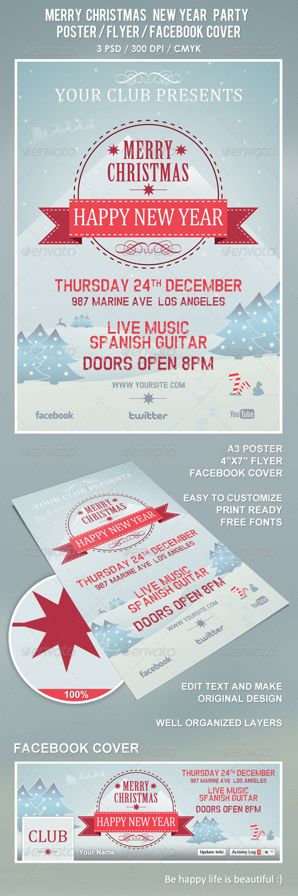 Christmas New Year Party Poster / Flyer / Facebook - Clubs & Parties Events
