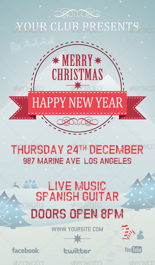 christmas new year party poster    flyer    facebook by