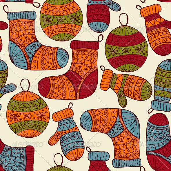 Vector Seamless Winter Christmas Pattern - Patterns Decorative