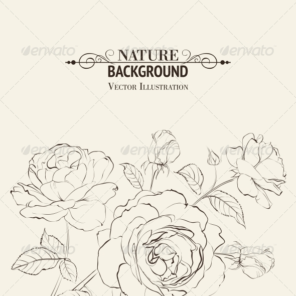 Invitation Card with Roses - Flowers & Plants Nature