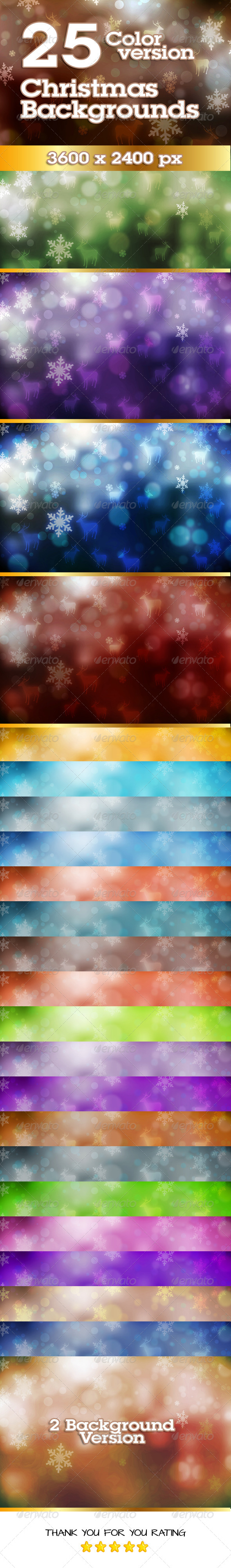 Christmas Background in 25 Colors variations - Backgrounds Graphics