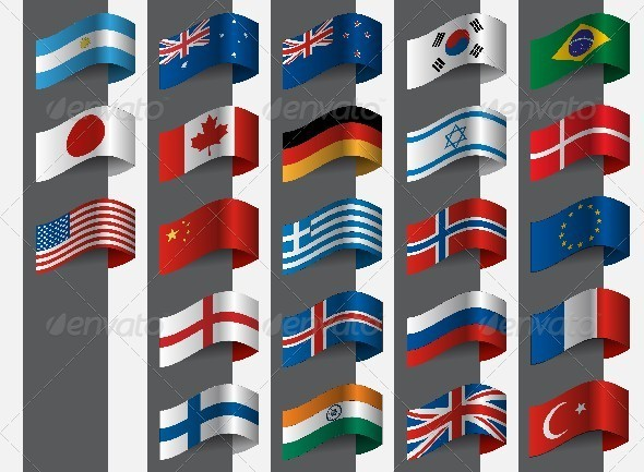 Collection of Flags - Decorative Symbols Decorative