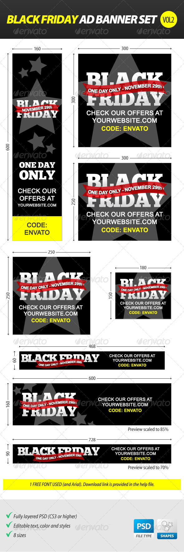 Black Friday Ad Banner Set vol.2 - Banners & Ads Web Elements
