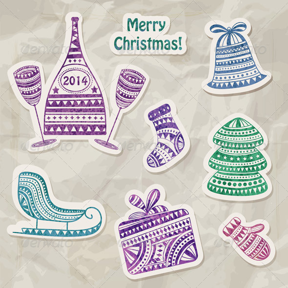 Vector Stickers with Watercolor Holiday Drawings - Decorative Symbols Decorative