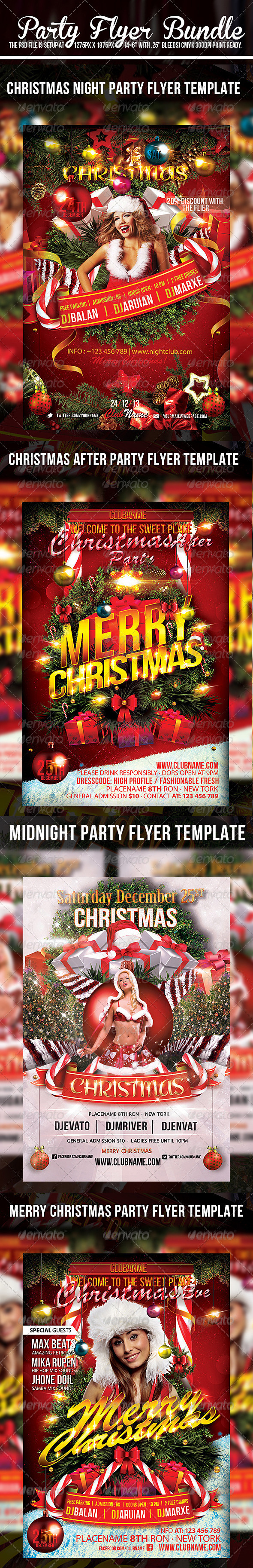 Christmas  Flyer Template Bundle Pack - Events Flyers