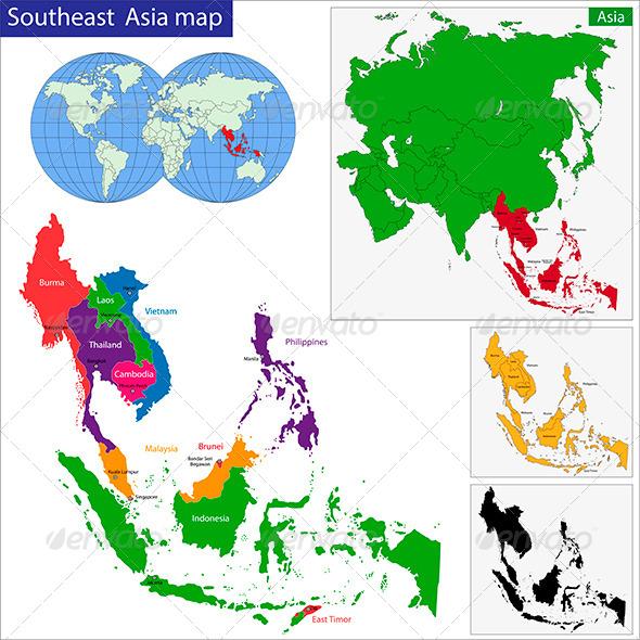 Southeast Asia Map - Travel Conceptual