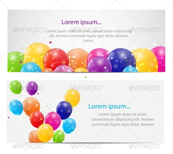 Color Glossy Balloons Card Background  - Birthdays Seasons/Holidays