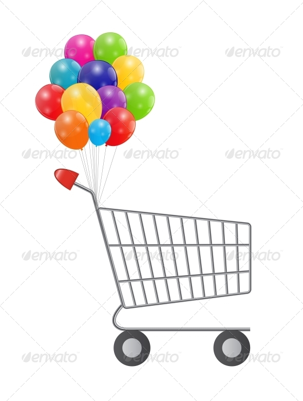 Empty Supermarket Shopping Cart with Balloons - Retail Commercial / Shopping