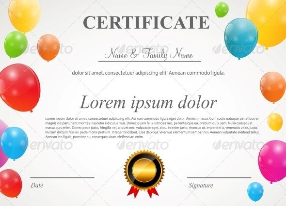 Glossy Balloons Certificate - Christmas Seasons/Holidays