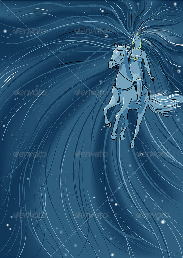 Woman Riding Horse - Animals Characters