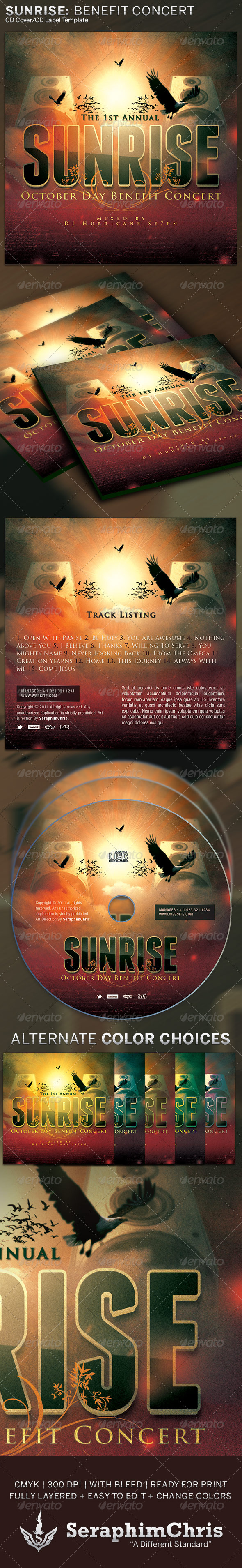 Sunrise Benefit Concert: CD Cover Artwork Template - CD & DVD Artwork Print Templates