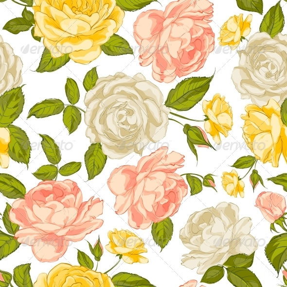Roses Seamless Background. - Flowers & Plants Nature