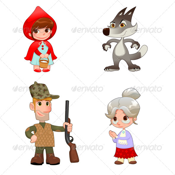 Little Red Hiding Hood's Characters. - Characters Vectors