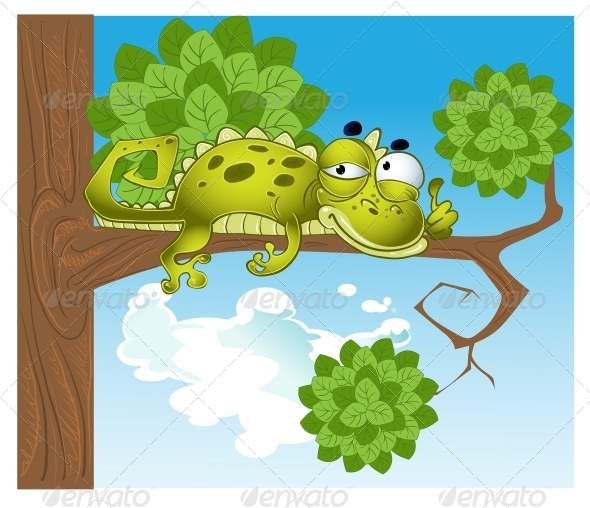 Green Raster Lizard on the Branch - Animals Characters