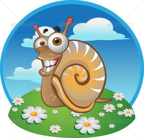 Snail on the Color Background - Animals Characters