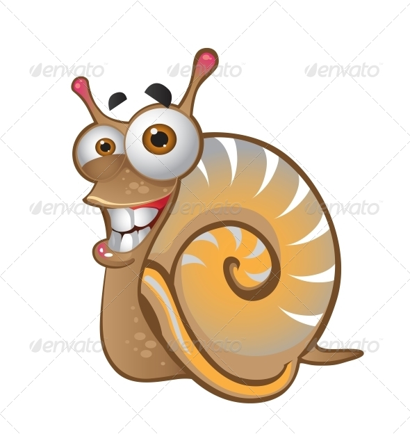 Snail on the White Background - Animals Characters